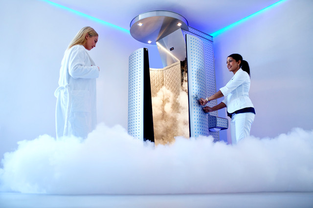 Cryotherapy sauna image by Jacob Lund (via Shutterstock).