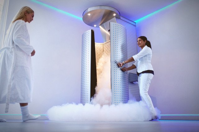 Cryotherapy chamber image by Jacob Lund (via Shutterstock).